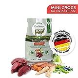 AniForte Natur Trockenfutter natürliches Hunde-Futter FarmsLamb 4 kg, Mini Crocs für Kleine Hunde, Herzhaftes Lamm mit Süßkartoffeln, Birnen und Heidelbeeren, Ohne Chemie und künstliche Vitamine
