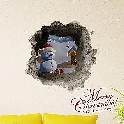 Cartoon dekorative Malerei Schlafzimmer Wohnzimmer Fernseher Sofa Hintergrund HD-Dimensionalen 3D Wall Sticker Wallpaper (Weihnachten), 58 x 58 (Hd Weihnachten Wallpaper)