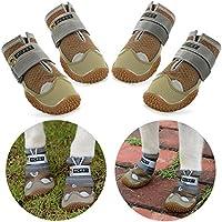 Нсрet Zapatos Perro, 4 Pcs Respirable Zapatos Antideslizantes para Perros, Antideslizante y elástica Resistente para Mediano y Grandes Perros (1#)