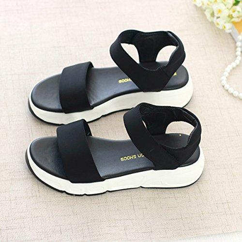 Xing Lin Ladies Sandals Summer New Word Open Toe Cloth Velcro Sandals Casual Comfort Platform Shoes black
