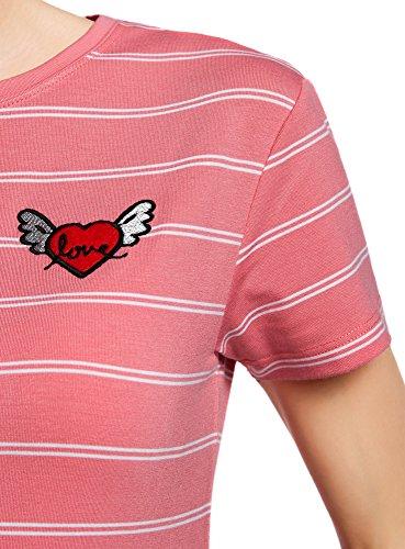 oodji Ultra Damen Gestreiftes T-Shirt mit Applikation Rot (4310S)