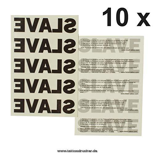 10 x Slave Tattoos Schriftzug Slave ALS Tattoo in schwarz - Temporary Tattoo (10)