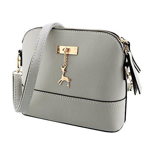 Designer Handtasche Nylon (Kleine Umhängetaschen Leder Damen Günstige Handtaschen Schule Elegant Shopper (grau))