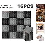 Ace Punch 16 Paquet 2 Combinaison de Couleurs PyramideMousse Acoustique Panneau Insonorisation Sonorisation Absorbeur Traitement avec Ruban Adhésif 20 x 20 x 5 cm Noir et GrisAP1034