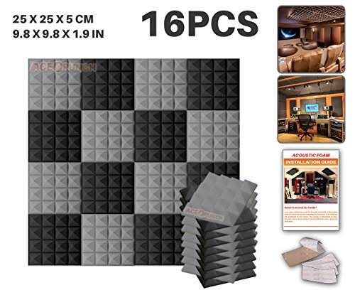 ace-punch-16-pack-2-colors-black-and-gray-pyramid-acoustic-foam-panel-diy-design-studio-soundproofin