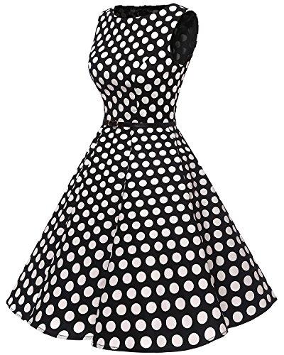 Bbonlinedress modèle 2 Vintage rétro 1950s Audrey Hepburn robe de soirée cocktail année 50 Rockabilly Noir à grand pois blanc