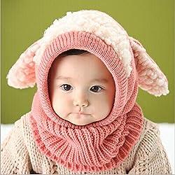 BZLine® Style Mignon Bébé Fille Garçon Tour de Cou / Bonnet d'Automne-Hiver en Laine Tricotée / Forme d'un Mouton, Taille pour Bébé 6-36Mois, Pink