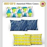 Divine Casa 100% Cotton Printed Design Assorted Pillow Covers Set of 3 (Total 6 Pcs) (Muliticolor, Standard Size)