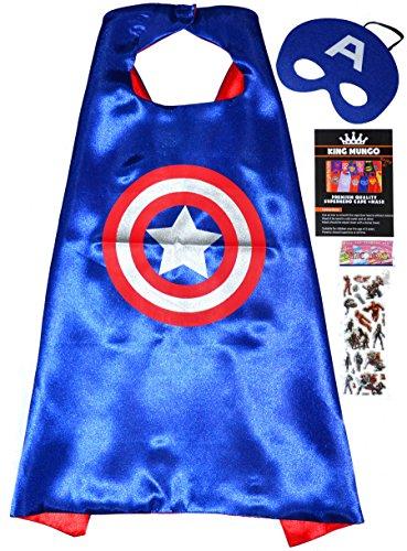 America Mädchen Kostüme Captain (Captain America Cape und Maske + Aufkleber! - Avengers Superhelden-Kostüme für Kinder - Superheroes Kostüm von 2 bis 10 Jahre - Superheld Mottopartys! Spielzeug für Jungen und Mädchen cape and)
