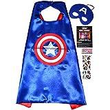 Captain America Cape y máscara + Adhesivo. - Avengers Super Héroes de disfraces para niños - Super Heroes Disfraz de 2 a 10 años - Super Held Fiestas. Juguete para Niños y Niñas Cape and Mask - King Mungo - kmsc034