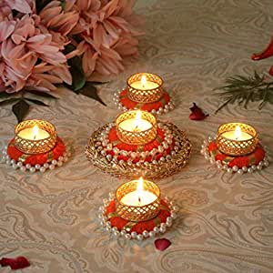 TIED RIBBONS Christmas Candle Holder Set - Floral Floating Tealight Candle Holders Set Christmas Decoration Item (Pack of 5)