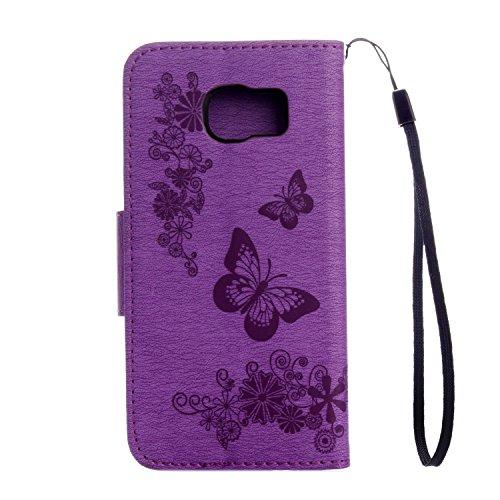 custodia samsung s6 portafoglio farfalle