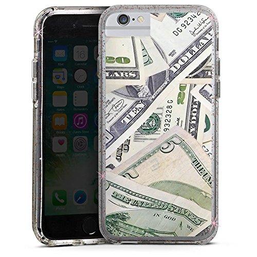Apple iPhone 6 Bumper Hülle Bumper Case Glitzer Hülle Geld Dollar Scheine Bumper Case Glitzer rose gold