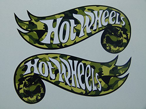 MG314 / 2x Hotwheels Aufkleber je 11,5x4,5cm Camo Army Hot Rod Tuning Sticker Muscle Car Racing Old School vintage Retro Style Camouflage