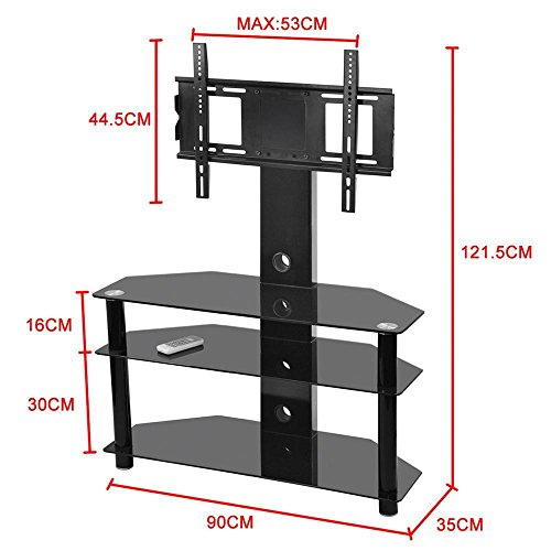 Tinxs Modern Glass TV Stand & Mount With Cable Management Cable Management & Shelves for Components, Black-Suitable for 32