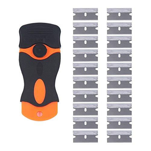Preisvergleich Produktbild EEFUN Mini-Rasiermesser Schaber mit 20 Stück Klingen - Ceranfeldschaber/Autofolie Schaber / Glasschaber / Kochfeldschaber / Vignettenschaber