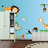 Grandora Wandtattoo Tiere des Waldes Löwe Affen Giraffe I (BxH) 90 x 30 cm I Kinderzimmer Babyzimmer Sticker Aufkleber Wandaufkleber Wandsticker Stickers W5294