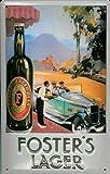 Nostalgische Welten Andreas Schmidt Fosters Cerveza Coche de Cerveza Lager nostálgico Cartucho, Curvada, Fuerte en Relieve 3D Metal Tin Sign 7,87'x 11.81Inches