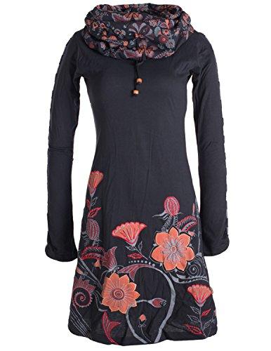 Vishes - Alternative Bekleidung - Langärmliges Blumenkleid aus Baumwolle mit Kapuzenschalkragen schwarz ()