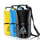 MNT10 Dry Bag Packsack wasserdicht mit Tragegurt I Drybag Waterproof 10l I Wasserfeste Tasche für Reisen, Outdoor und Camping I Seesack wasserdicht und widerstandsfähig (Schwarz, 10 Liter)