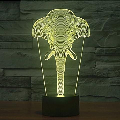 3d illusione lampada jawell luce notturna elefante 7Cambiare colore Touch USB tavolo regalo giocattoli decorazioni