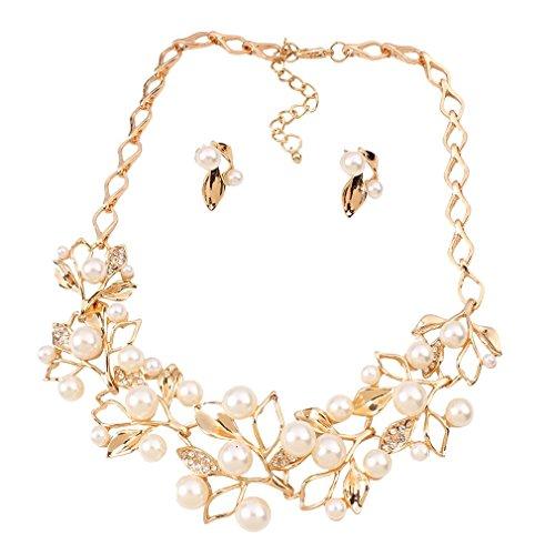 YAZILIND Süße Multiple Strass Millet Perlen Bib Statement Gold-Kragen-Halsketten-Ohrring-Set für Frauen