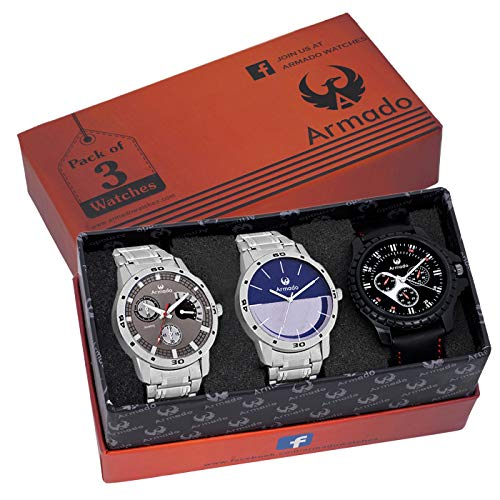 ARMADO AR-GRY0710051 Combo of 3 Stylish Analog Watches-for Men