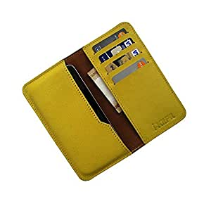 i-KitPit : Genuine Leather Wallet Flip Pouch Case For Lava Xolo A500s (YELLOW)