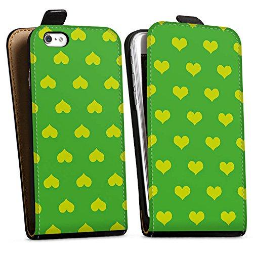Apple iPhone X Silikon Hülle Case Schutzhülle Herzchen Grün Polka Downflip Tasche schwarz