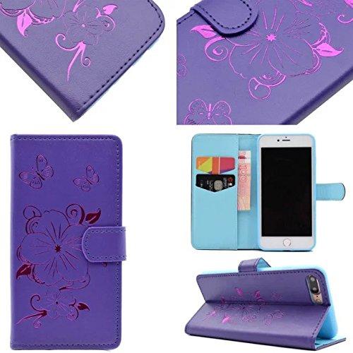 iPhone Case Cover IPhone 7 Plus Cas, Fleurs Papillon motif Dorure Case Wallet Stand Case Horizontal Flip Case PU Housse en cuir TPU pour Apple IPhone 7 Plus 5.5 pouces ( Color : Yellow , Size : IPhone Purple