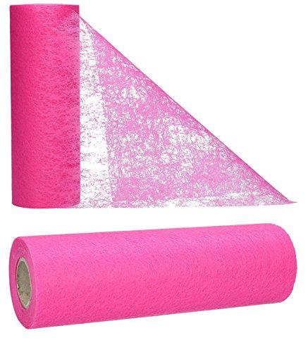 AmaCasa Vlies Tischläufer Pink 23cm/20 Meter Flower Vlies Tischband Hochzeit Kommunion