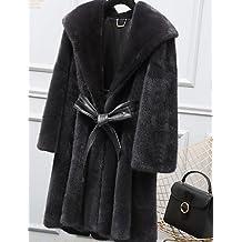 XUANKU salir a la calle de la mujer Chic sofisticado invierno abrigo de piel, sólido con capucha manga larga piel sintética de larga sintética pelo de mapache, negro, talla única