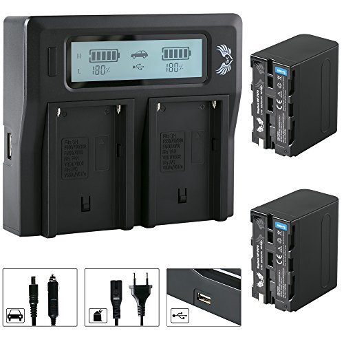 2X SK Akku Sony NP-F970 6600mAh + LCD Dual Doppel Ladegerät für Sony NP-F550 NP-F750 NP-F950 NP-F970 NP-F990 NP-FM50 NP-FM500H und Weitere Np-fm50-lithium-batterie