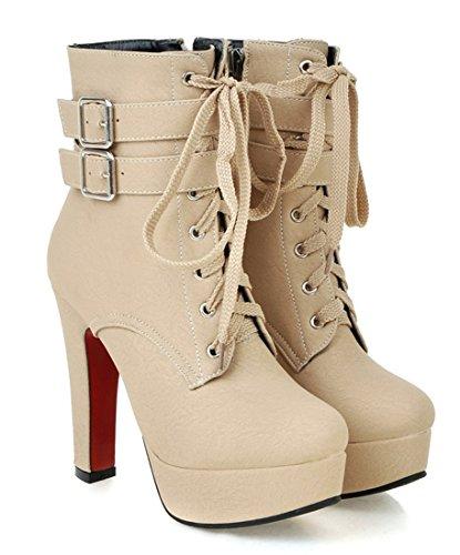 YE Blockabsatz Plateau High Heel Schnürstiefeletten mit Fell Elegant Fashion 12 cm Absatz Warm Gefütterte Herbst Winter Damenstiefel Beige