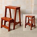ZEMIN escslera Plegable escaleras de escalera de uso múltiple escaleras de madera maciza casa de interior escalera de movimiento gruesa Taburete ( Color : Marrón )