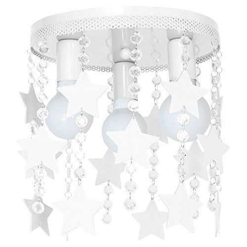 9750 Lustre en acier de plafond pour chambre d'enfant, plafonnier elza3 étoile, blanc.