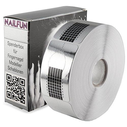 Nailfun - 1 Rolle (500 Stück) selbstklebende SILBER SQUARE-Form Modellier Schablonen Modellierschablonen für die künstliche Fingernagel-Modellage - Nagel-form-schablone