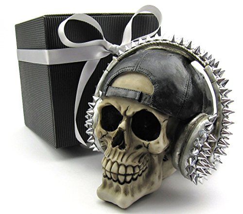 Totenkopf Toten-Schädel Skull mit Basecap und Kopfhörer im Geschenk-Set, in eleganter schwarzer Geschenk-Box mit Schleifenband, Geschenk für Frauen, Männer, Gothic, Mystik, Fantasy, Weihnachtsgeschenk, Party-Geschenk, Halloween