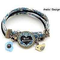 Bracelet Cadeau pour la maîtresse - Merci Maîtresse! - fleurs liberty bleu oiseau École idée cadeau fin d'année