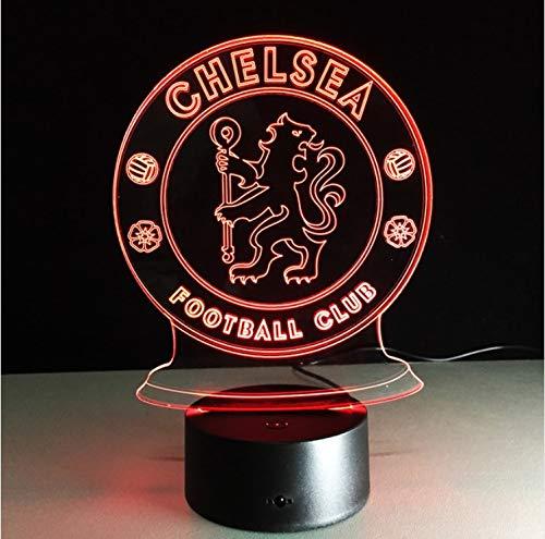 Klsoo Led Chelsea Football Club 3D Nachtlichter Elektrische Illusion Lampe 7 Farben Ändern Usb Touch Schreibtischlampe -