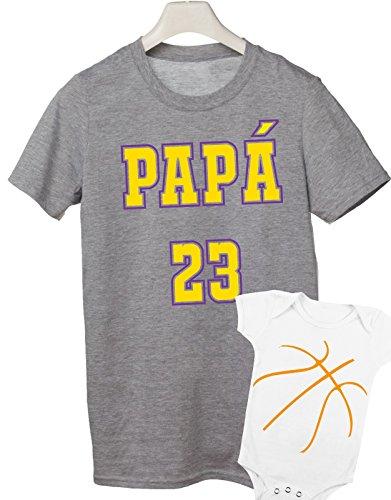 coppia t-shirt e body festa del papà -Basket combo- tutte le taglie uomo donna maglietta by tshirteria grigio