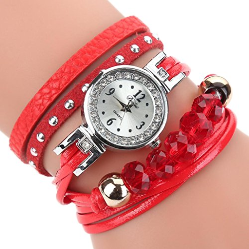 Uhren Damen, HUIHUI Geflochten Armbanduhren Günstige Uhren Wasserdicht Beliebte Casual Analoge Quarz Uhr Luxus Armband Coole Uhren Lederarmband Mädchen Frau Uhr (Rot)
