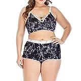 Yvelands Damen Bikini Set Plus Size Hohe Taille Bademode Print Hohl Badeanzug Push Up Gepolsterter Bikini(CN-2XL,Schwarz)