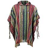 loudelephant 100% INTRECCIATO GHERI Cotone Messicano stile Poncho con cappuccio - Rosso, Verde & Navy