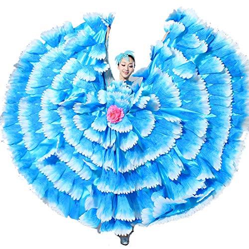 ZYLL Flamenco-Rock,Frauen Bauchtanz Chiffon Rock Tanz Kostüm Kleider Abgestufter Stammes-türkischer - Zigeuner Stammes Bauchtanz Kostüm