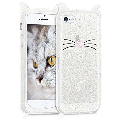 kwmobile Designer Schutzhülle für Apple iPhone SE / 5 / 5S - Silikonhülle - Motiv Schnurrbart - Schutzhülle [Rückseite] (Iphone 5 Designer)