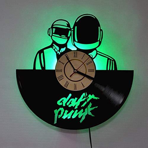 ZhangXF Daft Punk Band Vinyl Record Wanduhr, LED Leucht 12 Zoll Retro Vinyl Record Clock Dekoration Sieben Farben (Daft Punk-aufkleber)