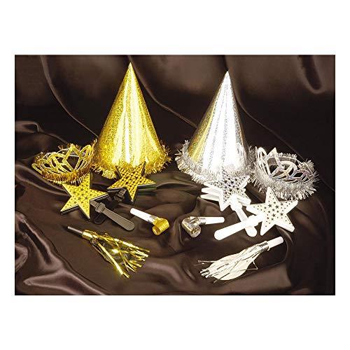 Widmann 1621R Silvester Galá Set für 4 Personen, Unisex- Erwachsene, Gold/Silber (Kostüm Für Vier Personen)