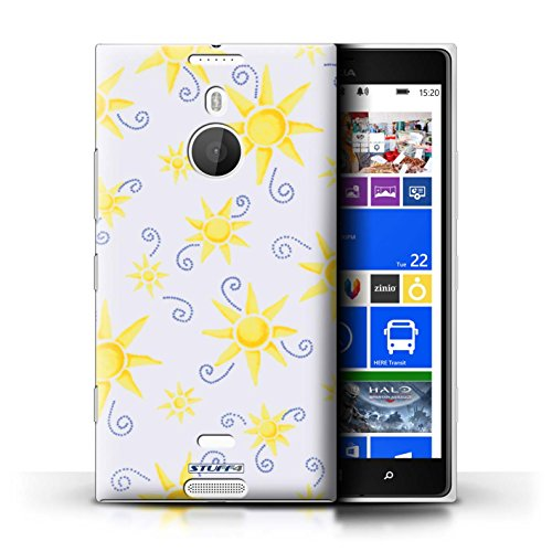Kobalt® Imprimé Etui / Coque pour Nokia Lumia 1520 / Violet/Blanc conception / Série Motif Soleil Jaune/Blanc