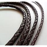 AURORIS - Lederband geflochten - Durchmesser / Farbe / Länge wählbar - Variante: Ø 3mm / braun / 1m